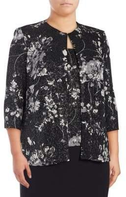 Alex Evenings Plus Two-Piece Floral Jacket and Camisole Set