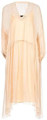 Nissa - Loose Silk Dress with Puffed Sleeves