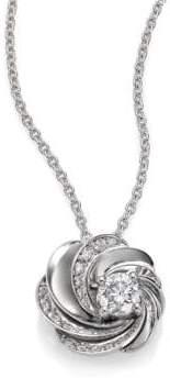 De Beers Aria Diamond& 18K White Gold Pendant Necklace