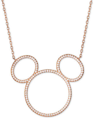 """Disney Cubic Zirconia Mickey Mouse Outline Pendant Necklace in 18k Rose Gold-Plated Sterling Silver, 16"""" + 2"""" extender"""