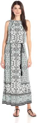 London Times Women's Sleeveless Printed Blouson Maxi Dress with Tassel Self Tie Belt