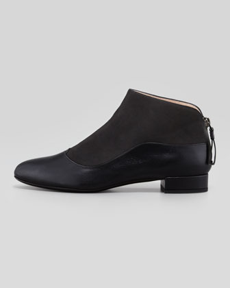 Giorgio Armani Suede-Leather Low-Heel Ankle Boot