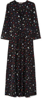 Ganni Nolana Twist-front Floral-print Silk Crepe De Chine Maxi Dress - Black
