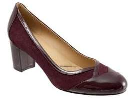 Trotters Phoebe Patent Leather and Suede Pumps