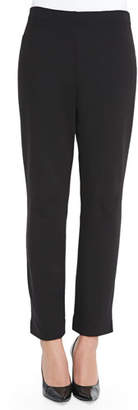 Joan Vass Slim Ponte Ankle Pants, Black