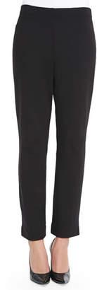Joan Vass Slim Ponte Ankle Pants, Black