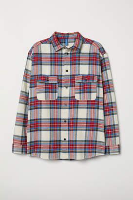 H&M Checked Cotton Shirt - White