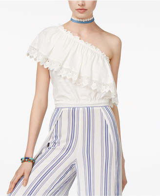 American Rag Juniors' One-Shoulder Crochet Ruffle Crop Top, Only at Macy's $29.50 thestylecure.com