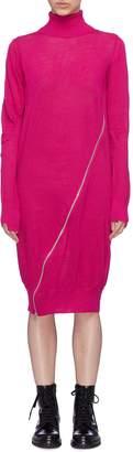 Sacai Slant zip knit turtleneck dress