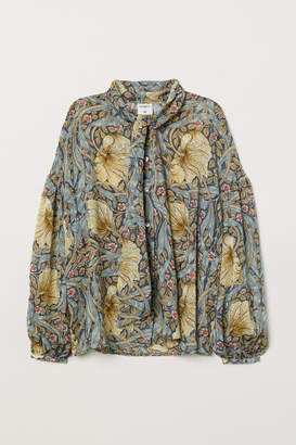 H&M Patterned Blouse with Ties - Blue