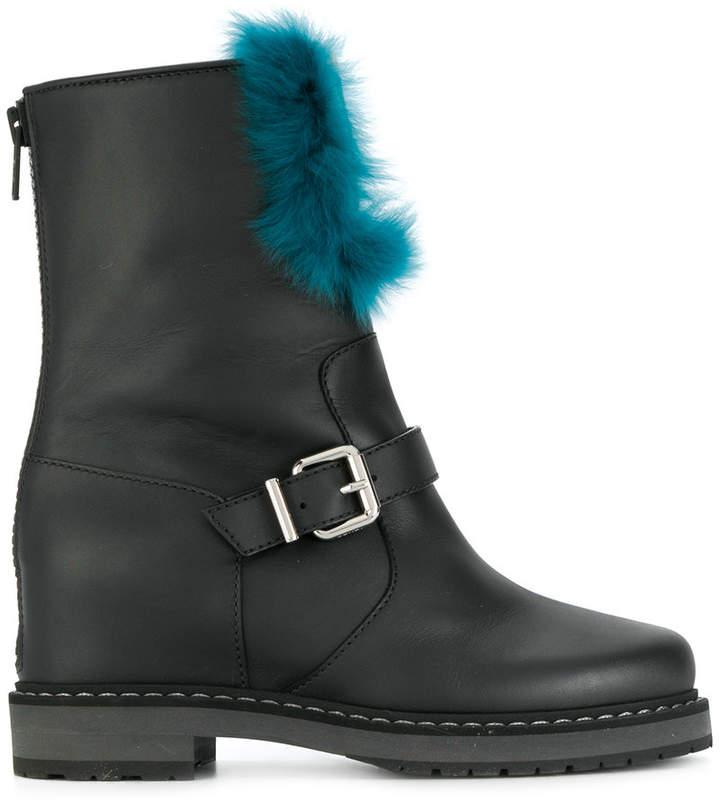 Fendi pin buckle fur boots