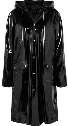 Rokh Hooded Vinyl Raincoat - Black