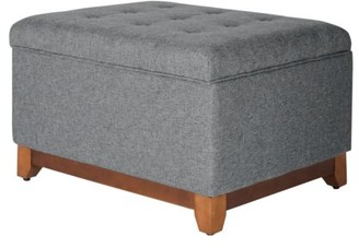 HomePop Oversized Square Storage Ottoman with Wood Apron, Multiple Colors