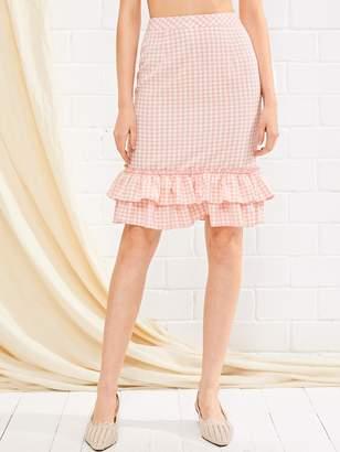 1f8de000709b Shein Ruffle Hem Zip Back Gingham Skirt