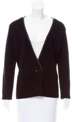 TSE Leather Trimmed Knit Cardigan