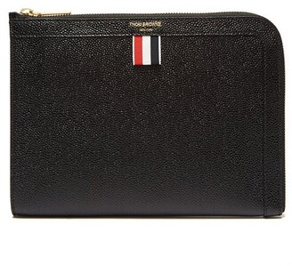 Thom Browne Mini Pebbled Leather Gusset Pouch - Mens - Black