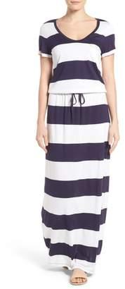 Caslon Drawstring V-Neck Jersey Maxi Dress