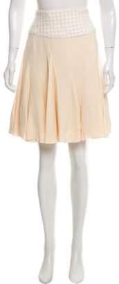 Oscar de la Renta Silk Pleated Skirt