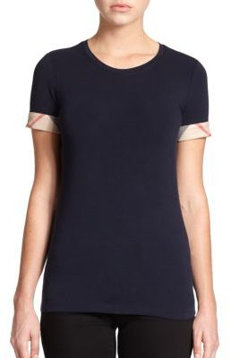 Burberry Check-Cuffed Tee $125 thestylecure.com