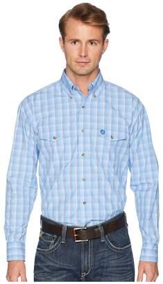 Wrangler George Strait Long Sleeve Two Flap Pocket Plaid Men's Long Sleeve Button Up