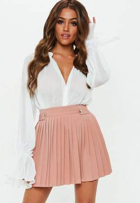 Missguided Nude Pleated Military Button Mini Skirt