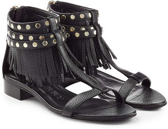 Burberry Abercorn Leather Sandals with Fringe