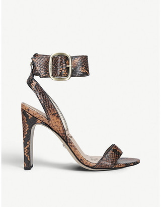 Sam Edelman Yola snake-embossed leather heeled sandals