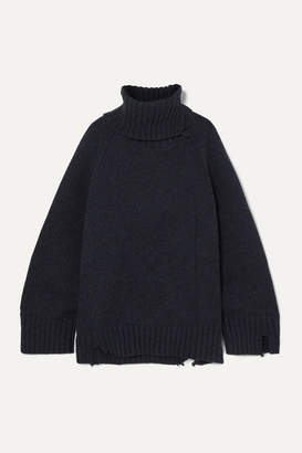 Maison Margiela Oversized Distressed Mélange Wool Turtleneck Sweater - Navy