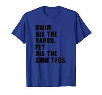 Shih Swim All The Yards Pet All The Tzus ADB121c T-Shirt