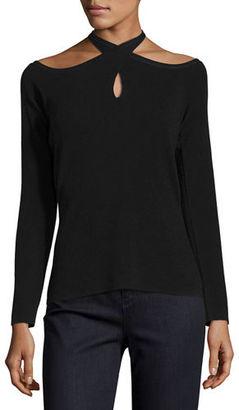 Elie Tahari Layden Keyhole Crossover-Neck Sweater $268 thestylecure.com