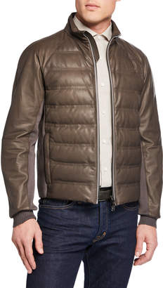 Ermenegildo Zegna Men's Light Padded Leather Bomber Jacket