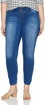 YMI Jeanswear Women's Plus Size Juniors Wannabettabutt Triple Button Jegging