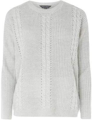 Dorothy Perkins Womens **Tall Grey Cable Front Jumper