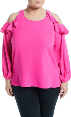 Kerrick Ruffle-Tiered Cold-Shoulder Blouse, Plus Size, Hot Pink