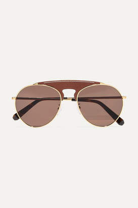 Loewe Pilot Aviator-style Gold-tone And Textured-leather Sunglasses