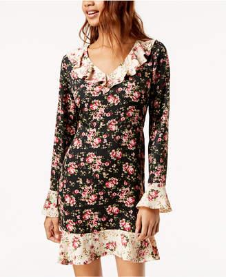 One Hart Juniors' Contrast-Floral Ruffled Dress