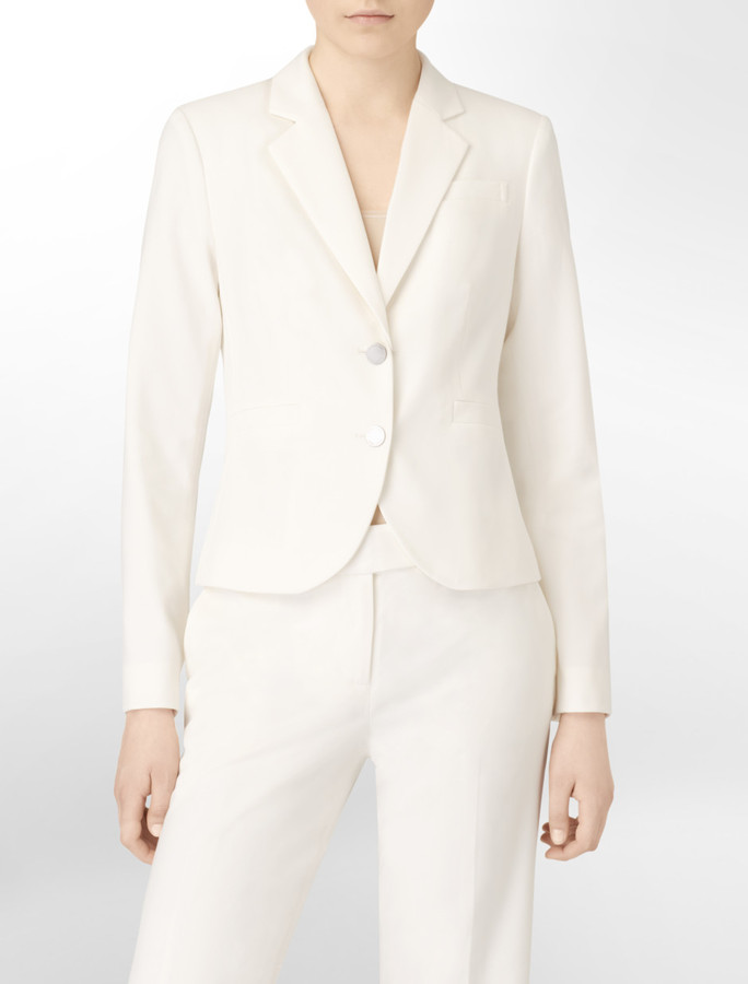 Calvin Klein Essential Charcoal Stretch Two Button Suit Jacket