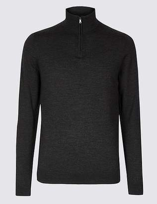 Marks and Spencer Pure Merino Wool Half Zipped Jumper