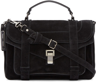 Proenza Schouler Black Suede Medium PS1 Satchel $1,780 thestylecure.com