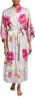 Natori Auburn Floral Long Satin Robe