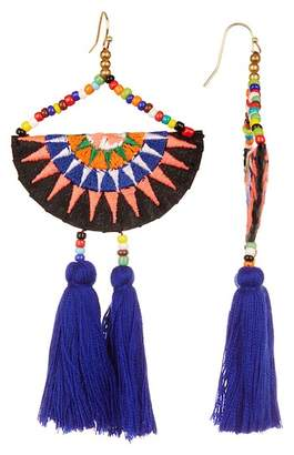 Panacea Embroidered Bead Accent Multi-Color Tassel Earrings