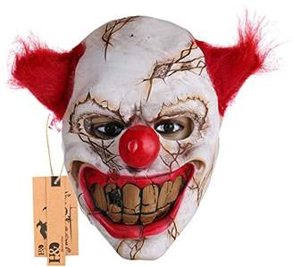 Hyaline&Dora Halloween Latex Clown Mask With Hair for Adults