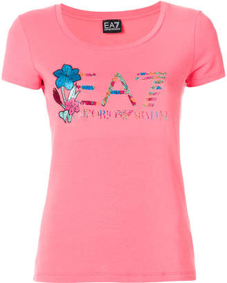 Emporio Armani Ea7 floral logo print T-shirt