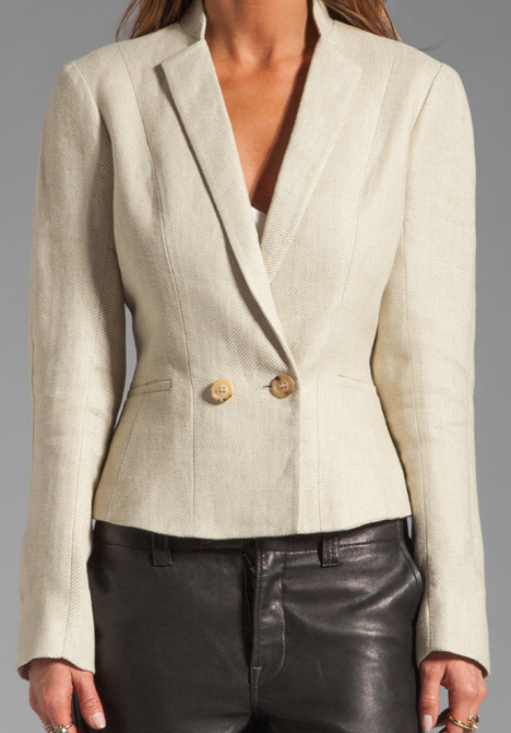 See by Chloe Paper Collar Single Button Blazer in Medium Gray