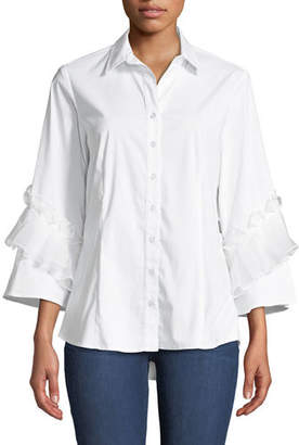Finley Vera Crystal Cuts Button-Front Ruffle-Sleeve Blouse