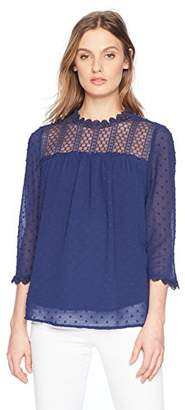 Adrianna Papell Women's 3/4 Sleeve Swiss Dot with Lace Blouse