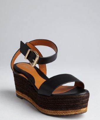 Fendi black leather and jute espadrille sandals