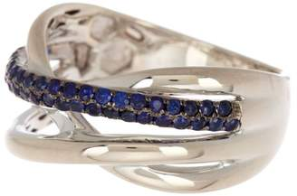 Effy Sterling Silver Blue Sapphire Pave Ring - Size 7