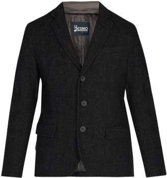 Herno Single Breasted Wool Blend Jacket - Mens - Grey