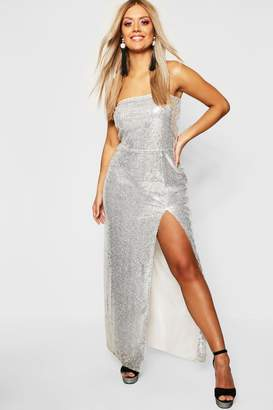 boohoo Gemma Collins Bandeau Sequin Maxi Dress